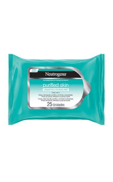 Kit Lenços Micelar Neutrogena Purified Skin 7 em 1 com 50 Unidades