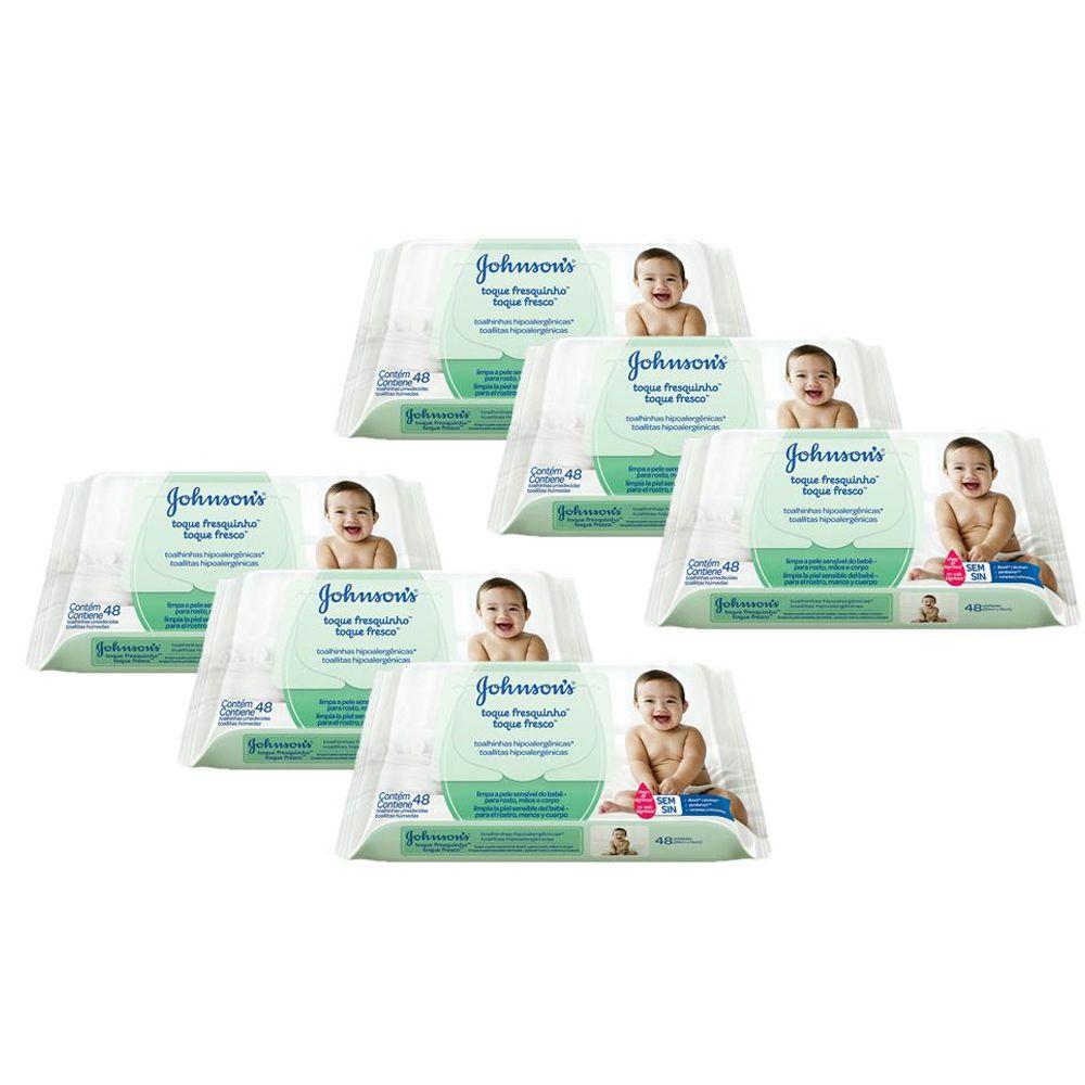 Kit Lenços Umedecidos Johnson's Baby Toque Fresquinho 48 unidades com 6 packs