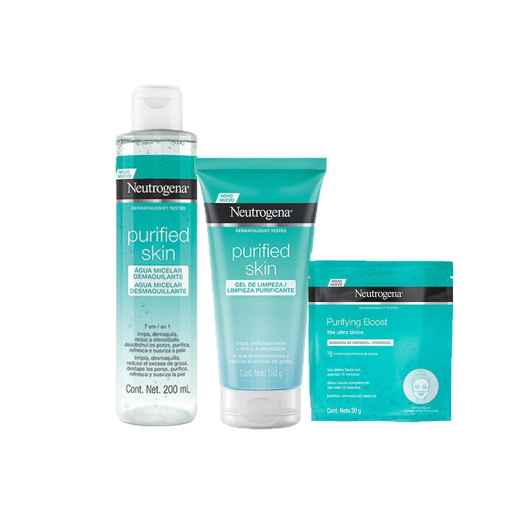 Kit Neutrogena Purified Skin com Gel de Limpeza 150 ml + Água Micelar 200ml + Máscara 30ml