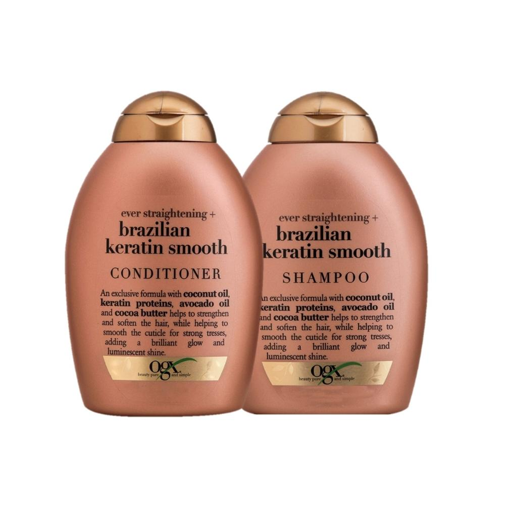 Kit OGX Brazilian Keratin Smooth: 1 Condicionador 250ml + 1 Shampoo 250ml