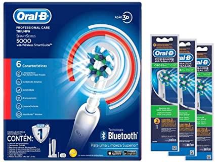 Kit Oral-B Escova Elétrica Precision Care 5000  D34 110V + 6 Refis Cross Action