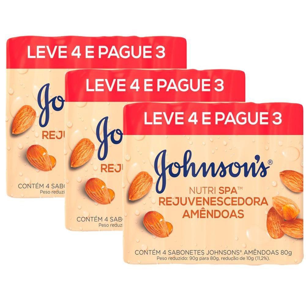 kit  Pacotes Sabonetes Barra Johnson's Amêndoas 80g Leve 4 Pague 3