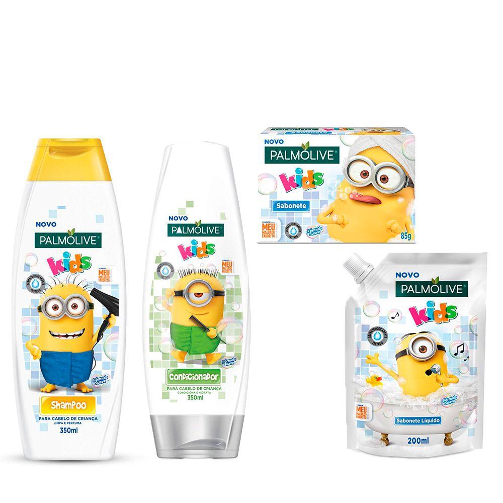 Kit Palmolive Kids Minions Shampoo + Codicionador + Sabonete Líquido e Barra