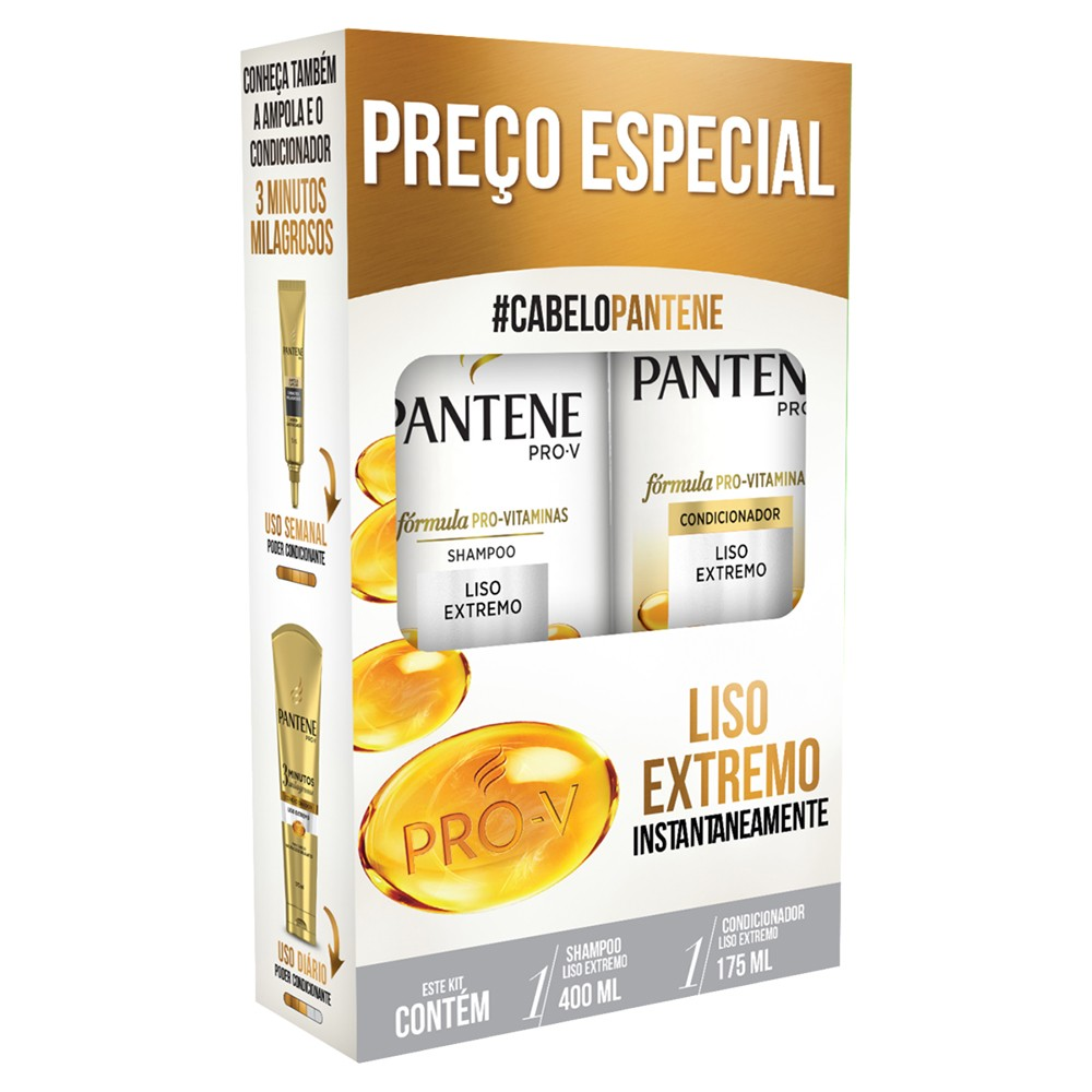 Kit Pantene Shampoo 400ml + Condicionador 175ml Liso Extremo