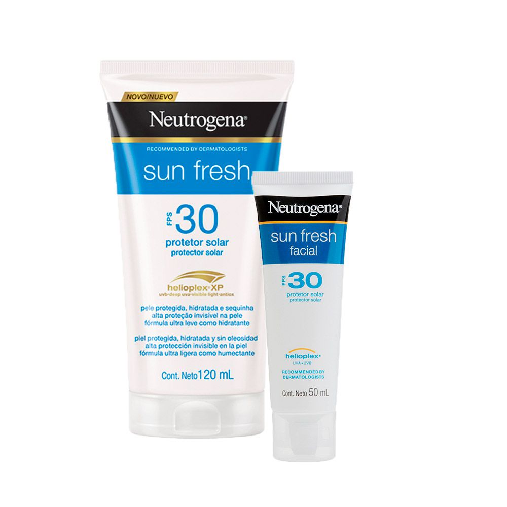 Kit Protetor Solar Neutrogena Sun Fresh Corpo FPS 30 120 ml + Facial Neutrogena Sun Fresh FPS 30 50g