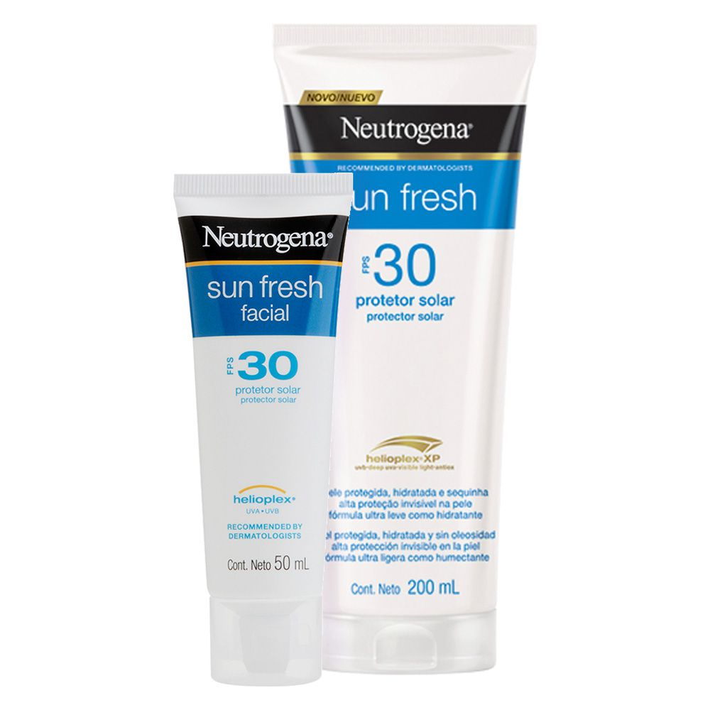 kIT Protetor Solar Neutrogena Sun Fresh Corpo FPS 30 200ml + Facial Neutrogena Sun Fresh FPS 30 50g