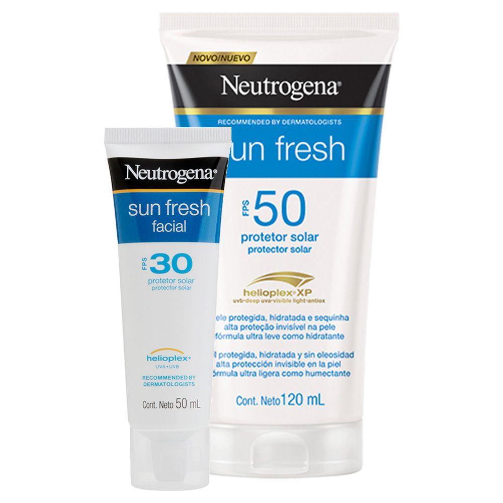 Kit Protetor Solar Neutrogena Sun Fresh FPS 50 120mL + Facial Neutrogena Sun Fresh FPS 30 50g