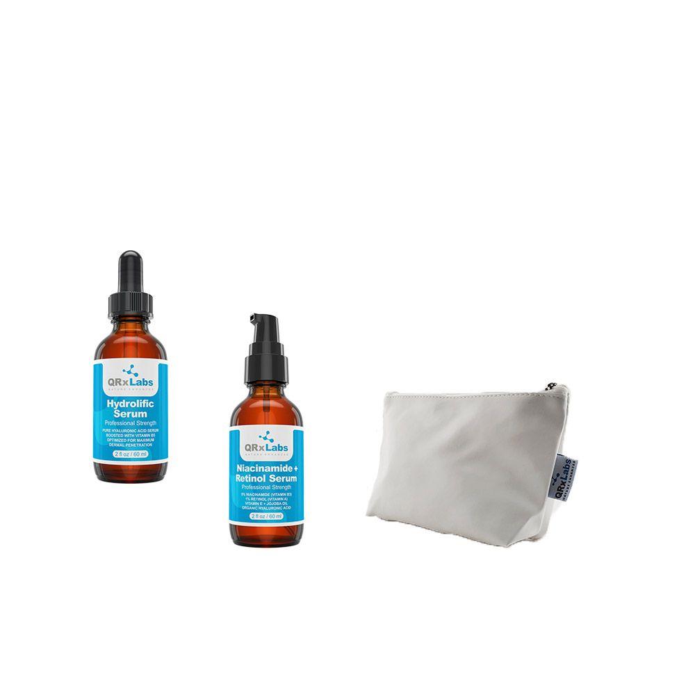 Kit QRxlabs Sérum Facial + Sérum Facial Niacinamide e Retinol Sérum + Necessaire Branca