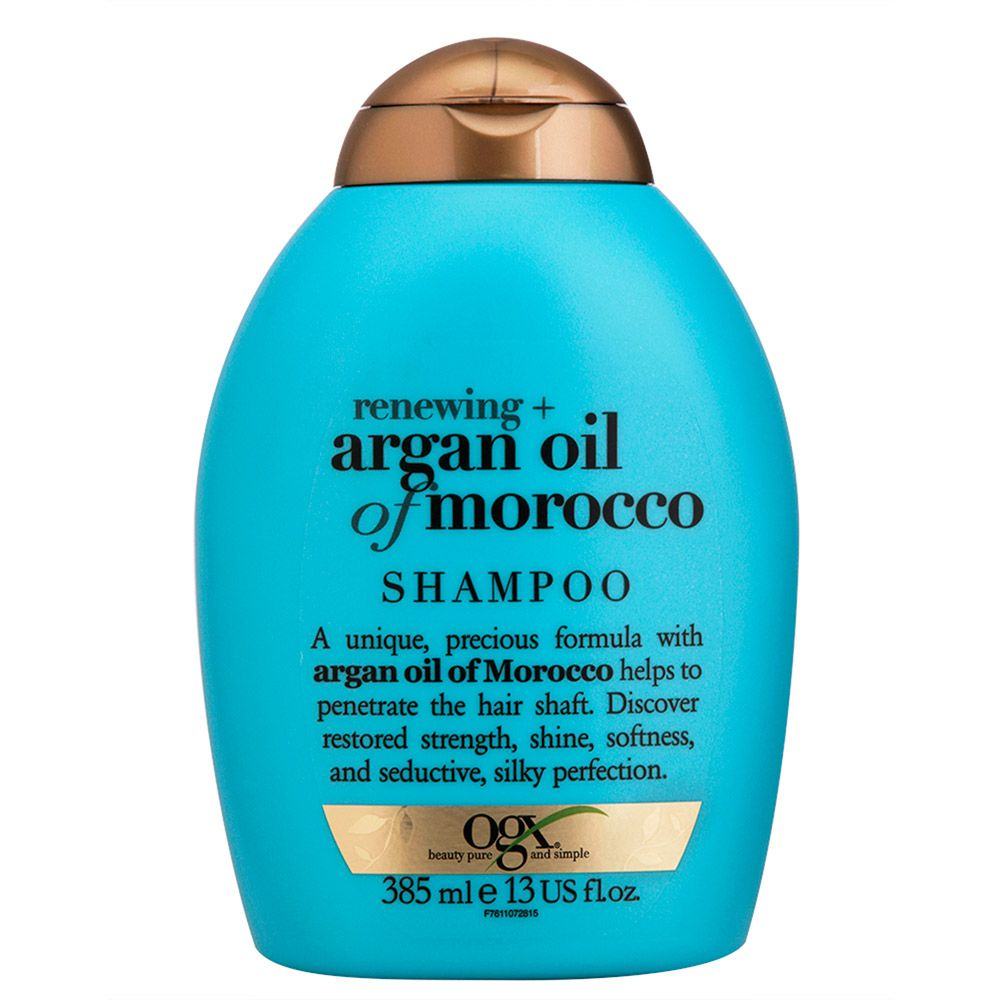 Kit Shampoo + Cond 385ml + Máscara OGX Argan Oil of Morocco 237ml + Brinde Biogllitter Natural - Roxo - Turquesa + Lenço Rosa