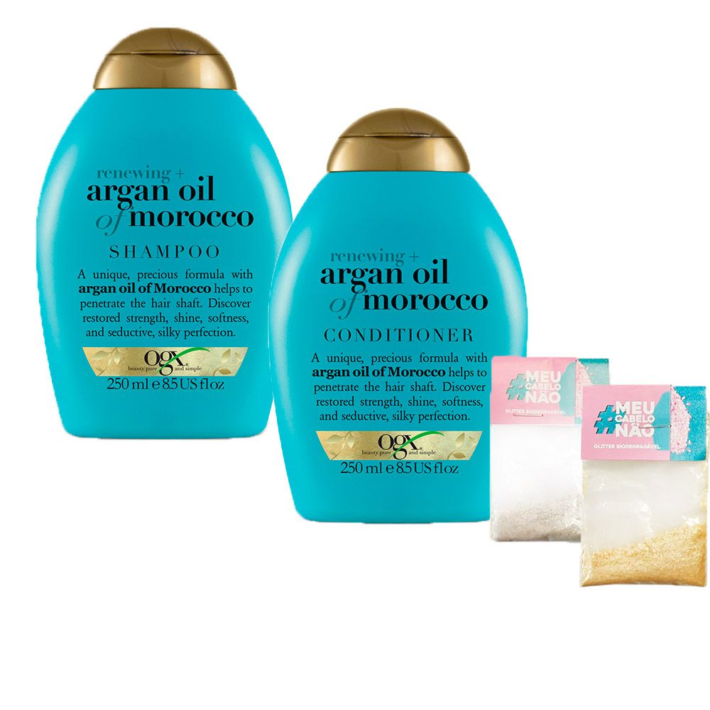Kit Shampoo + Cond OGX Argan Oil of Morocco 250ml + Brinde Bioglitter Dourado e Natural