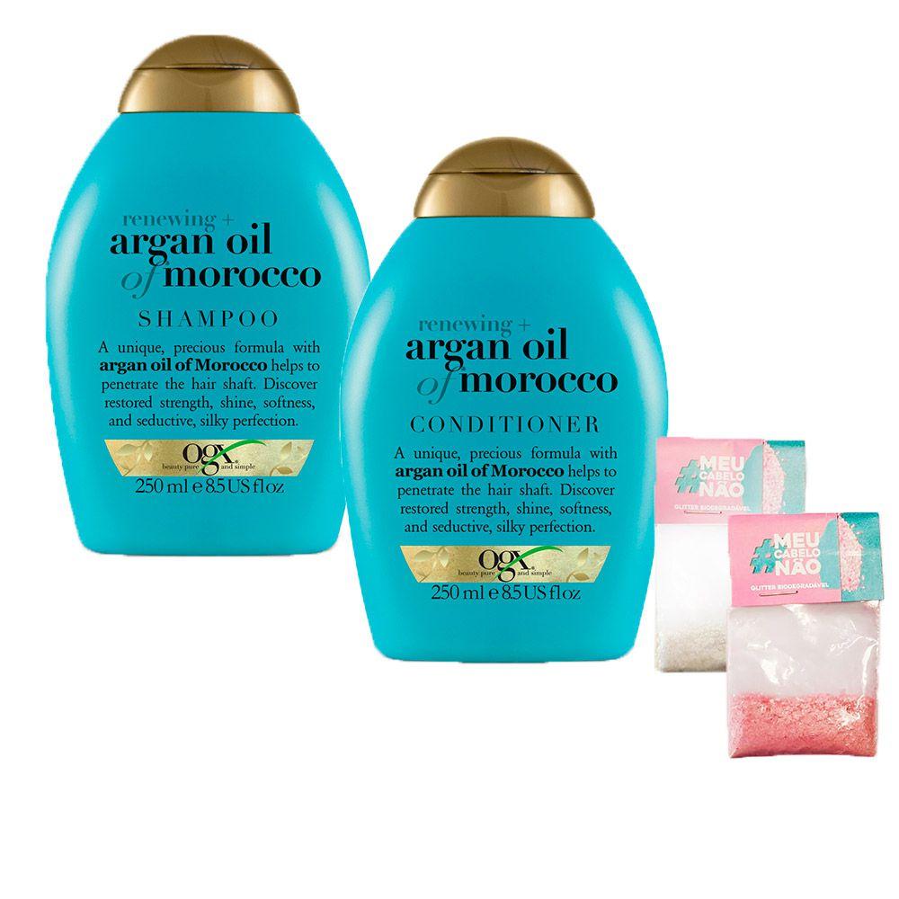 Kit Shampoo + Cond OGX Argan Oil of Morocco 250ml + Brinde Bioglitter Rosa e Natural