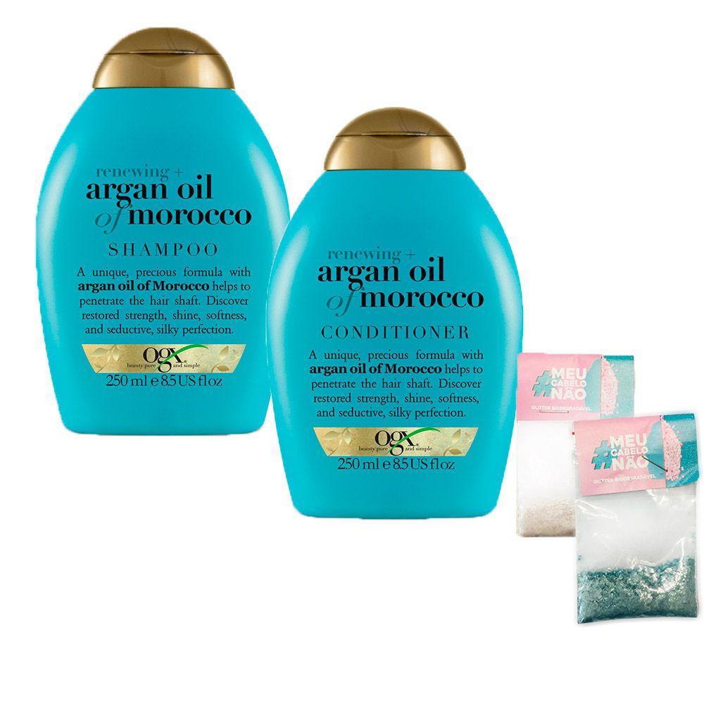 Kit Shampoo + Cond OGX Argan Oil of Morocco 250ml + Brinde Bioglitter Turquesa e Natural