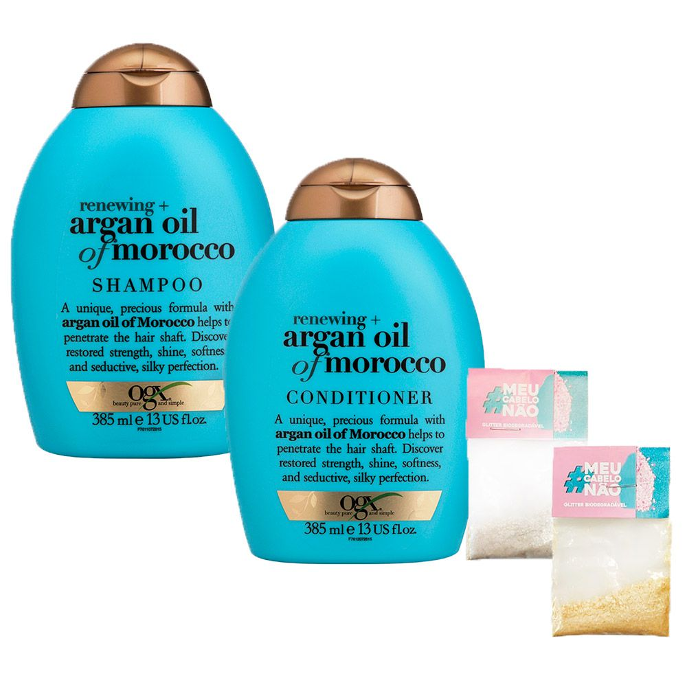 Kit Shampoo + Cond OGX Argan Oil of Morocco 385ml + Brinde Bioglitter Dourado e Natural