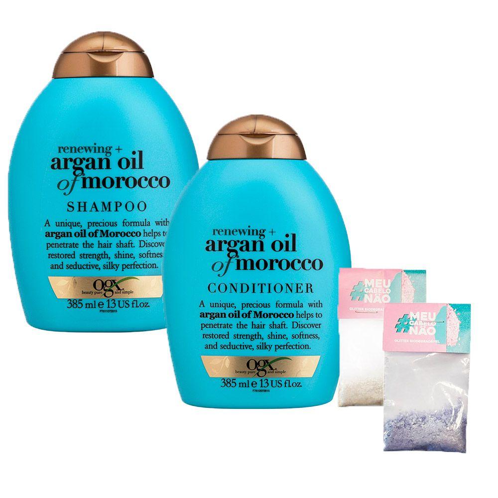 Kit Shampoo + Cond OGX Argan Oil of Morocco 385ml + Brinde Bioglitter Roxo e Natural