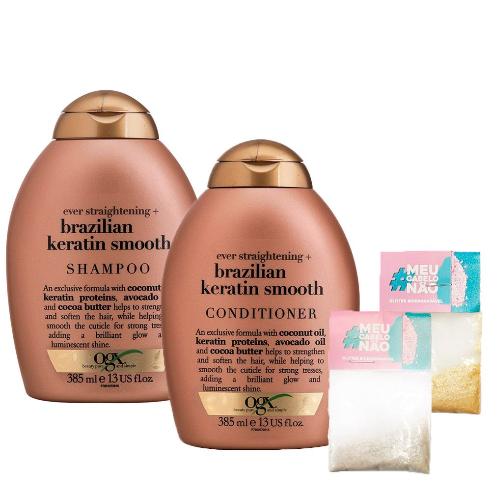 Kit Shampoo + Cond OGX Brazilian Keratin Smooth 385ml + Brinde Bioglitter Dourado e Natural