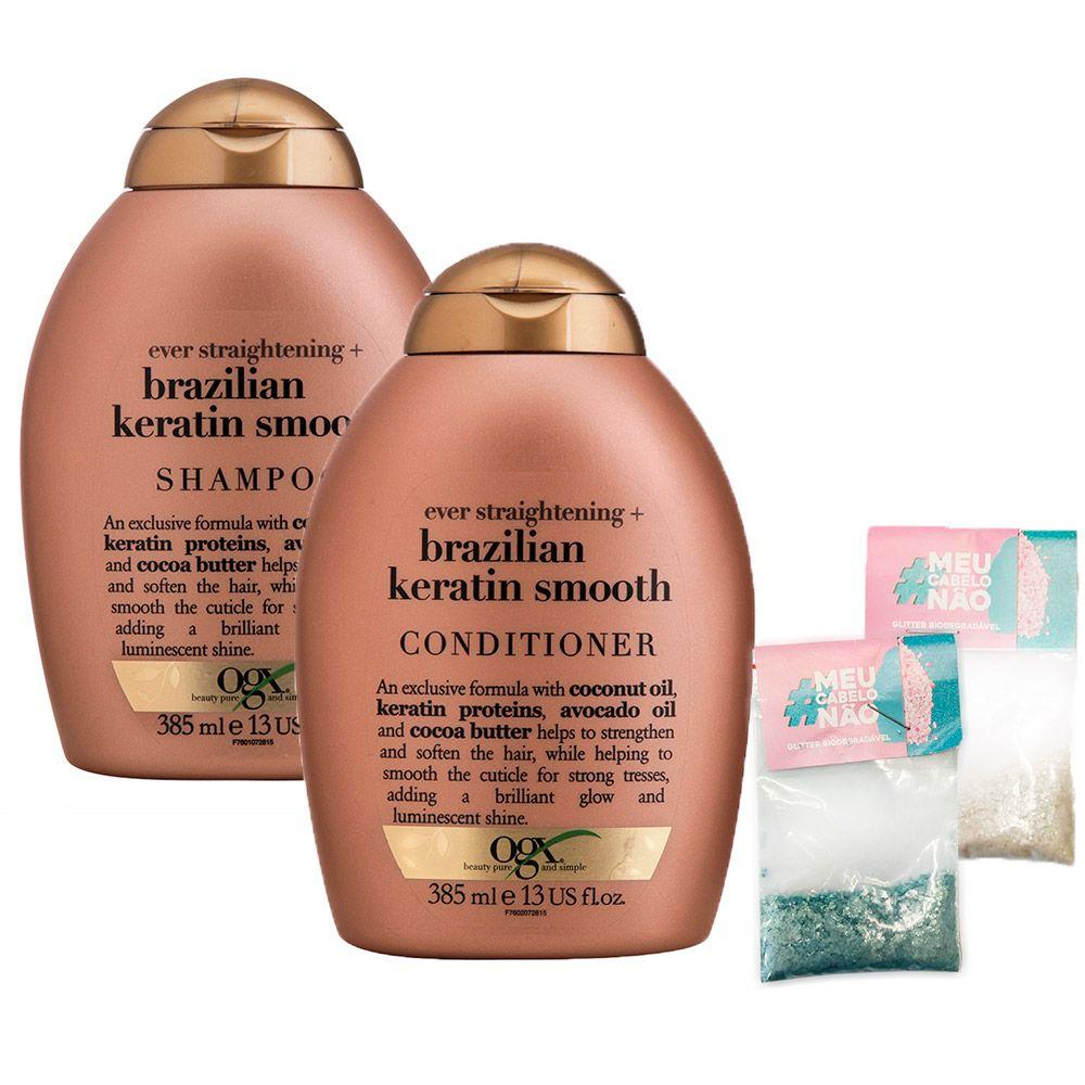 Kit Shampoo + Cond OGX Brazilian Keratin Smooth 385ml + Brinde Bioglitter Turquesa e Natural