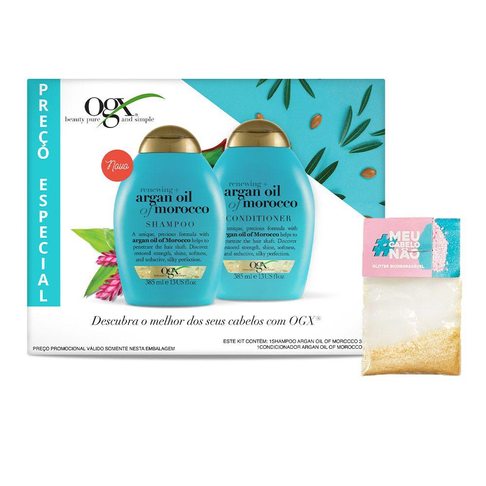 Kit Shampoo + Condicionador OGX Argan Oil of Morocco 385ml + Brinde Bioglitter Dourado