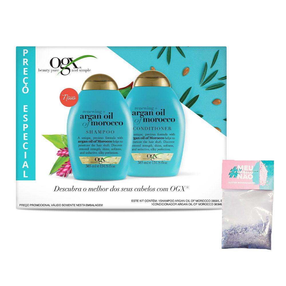 Kit Shampoo + Condicionador OGX Argan Oil of Morocco 385ml + Brinde Bioglitter Roxo