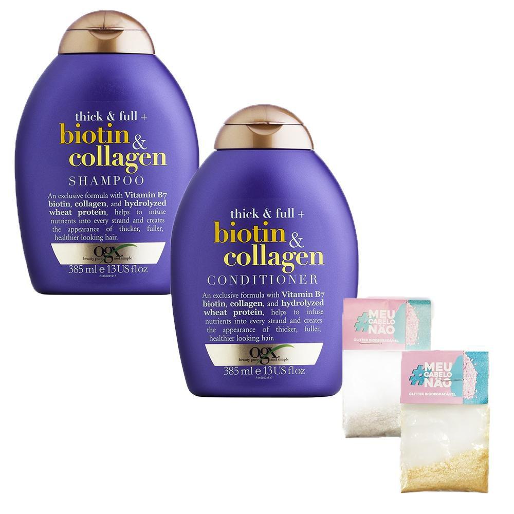 Kit Shampoo + Condicionador OGX Biotin & Collagen 385ml + Brinde Bioglitter Dourado - Natural