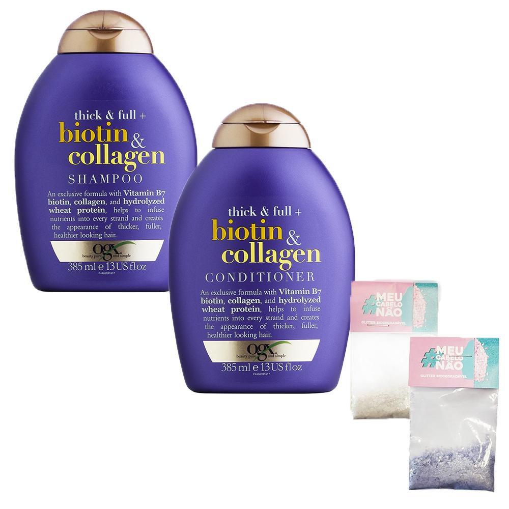 Kit Shampoo + Condicionador OGX Biotin & Collagen 385ml + Brinde Bioglitter Roxo - Natural