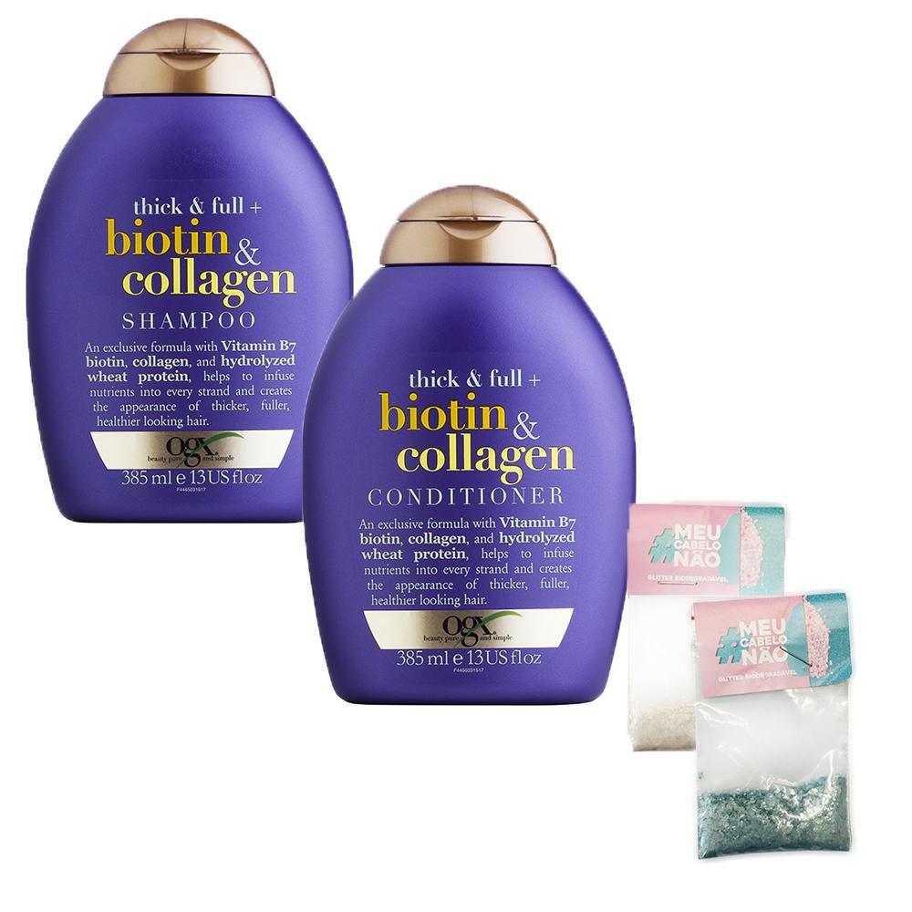 Kit Shampoo + Condicionador OGX Biotin & Collagen 385ml + Brinde Bioglitter Turquesa - Natural