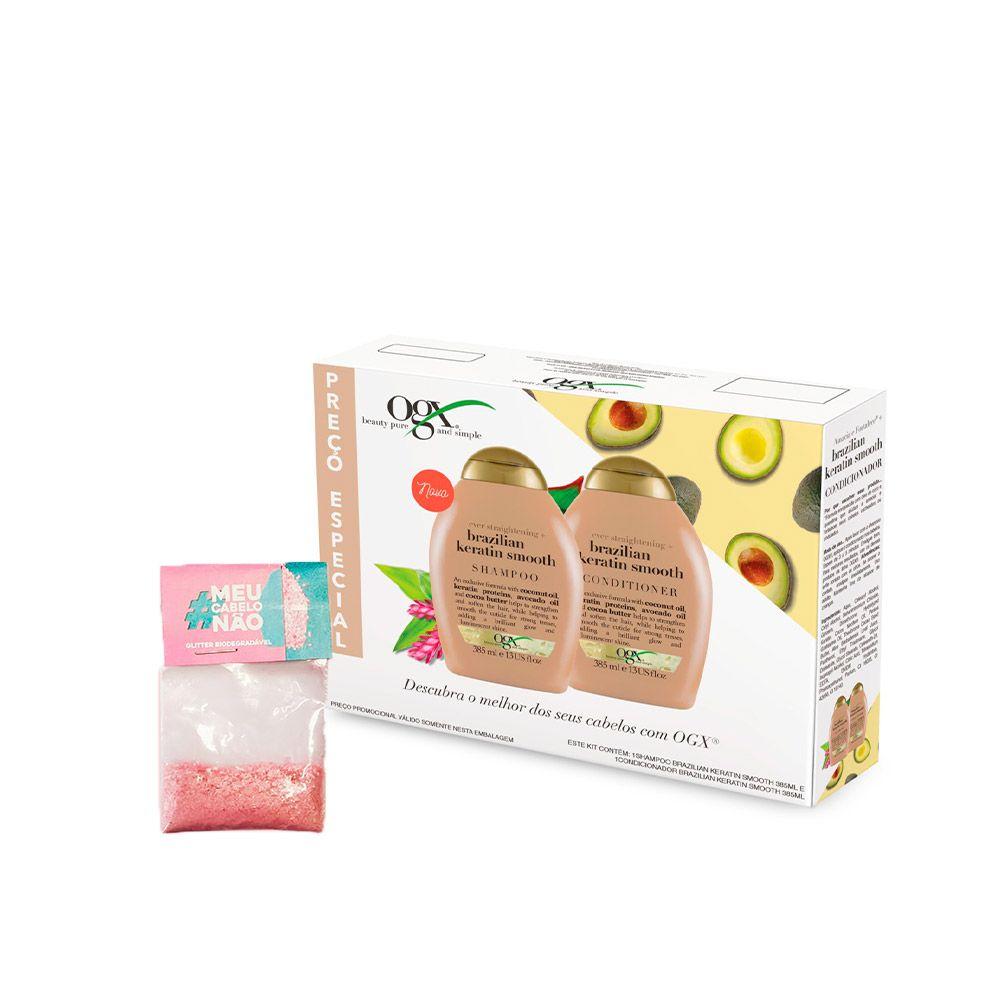Kit Shampoo + Condicionador OGX Ever Straight Brazilian Keratin Smooth 385ml + Brinde Bioglitter Rosa
