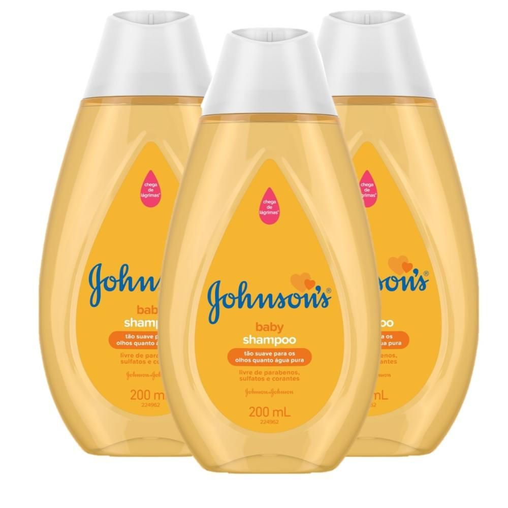 Kit Shampoo Johnson's Baby Regular 200ml com 3 unidades