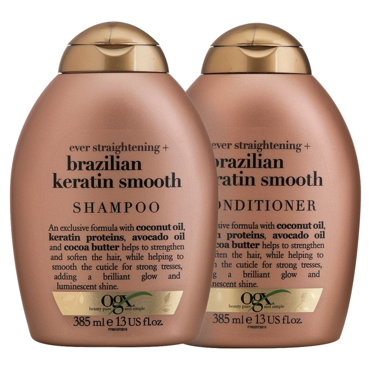 Kit Shampoo OGX Brazilian Keratin Smooth 385ml + Condicionador OGX Brazilian Keratin Smooth 385ml