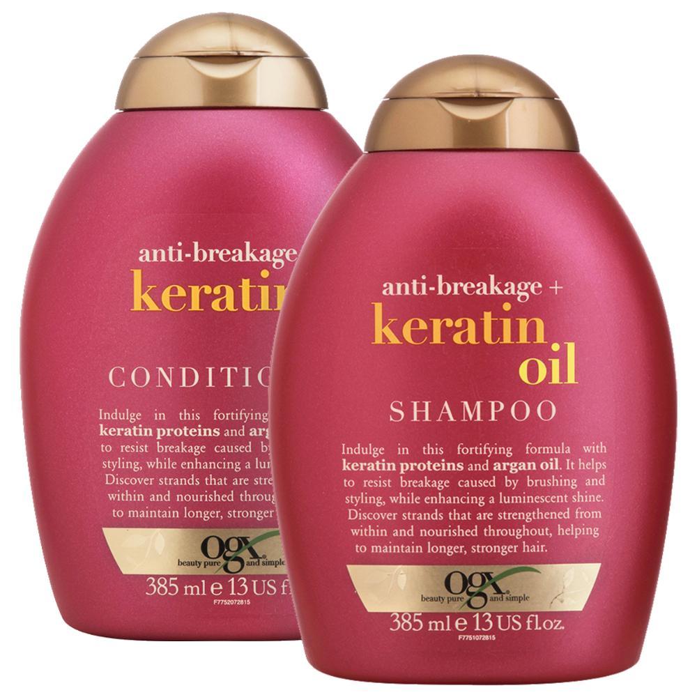 Kit Shampoo OGX Keratin Oil 385ml + Condicionador OGX 385ml