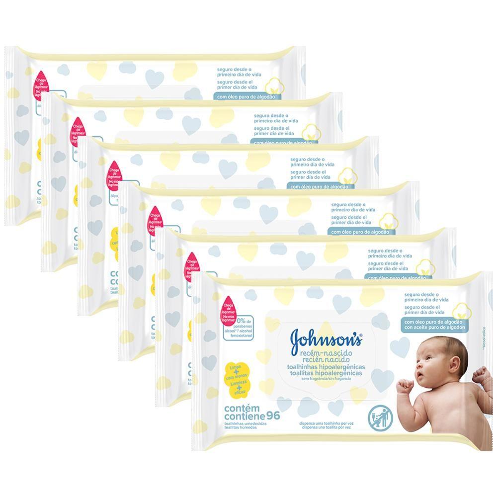 Kit Toalhas Umedecidas Johnsons Baby Recém-Nascido 6 pacotes com 96 unidades cada