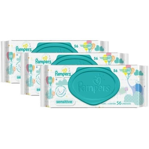 Kit Toalhinhas Umedecidas Pampers Sensitive com 168 Unidades