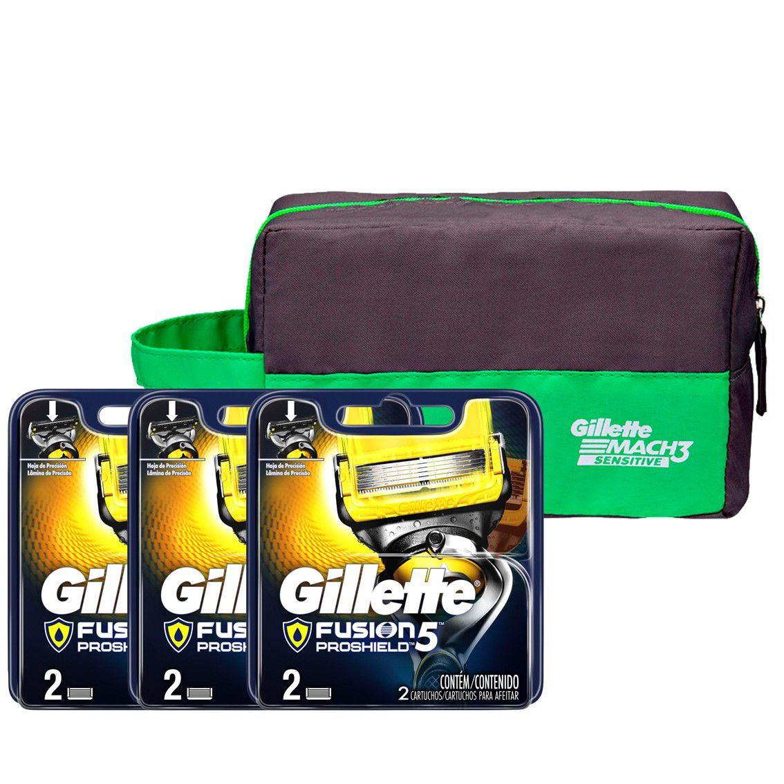 Kit 6 Cargas Gillette Aparelho de Barbear Fusion Proshield + Necessaire