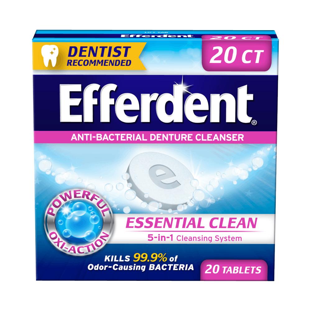 Limpador de Dentadura Antibacteriano Efferdent com 20 Tabletes