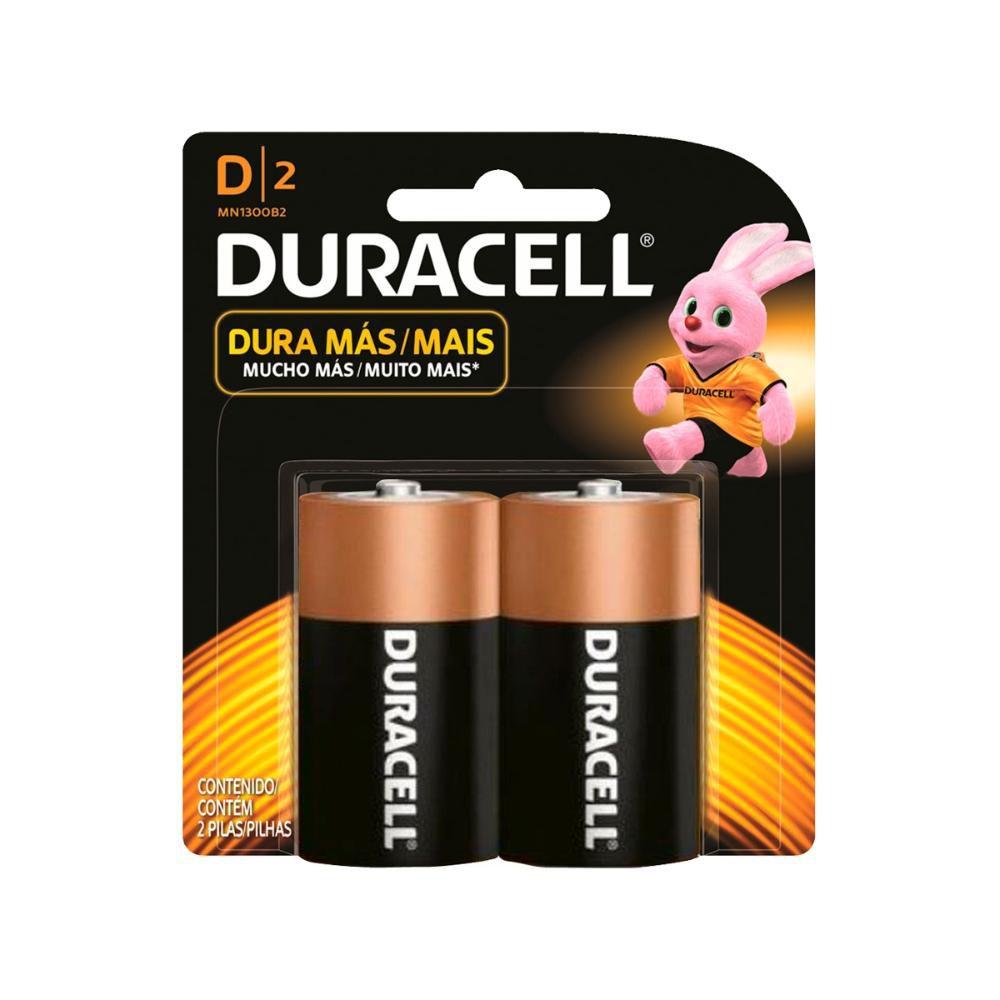 Pilha Duracell Alcalina Grande D com 2 Unidades