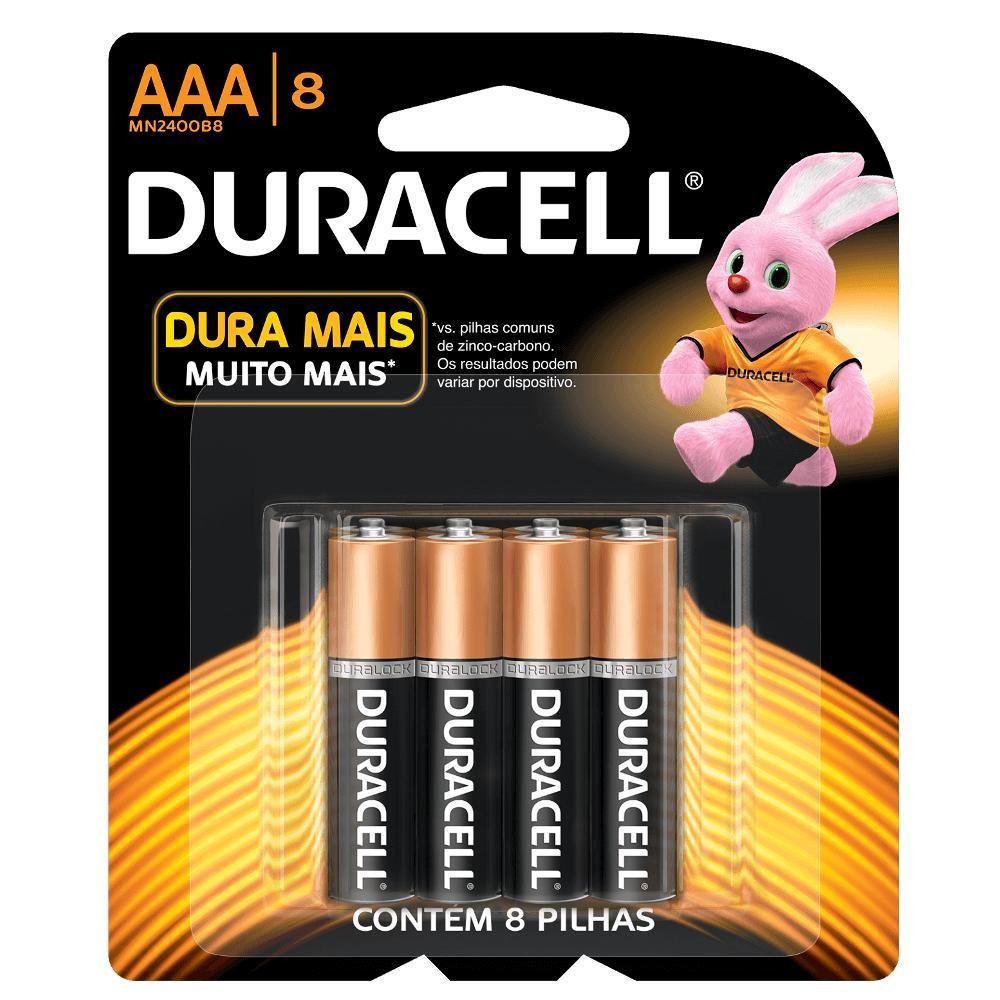 Pilha Duracell Alcalina Palito AAA c/ 8 Unidades