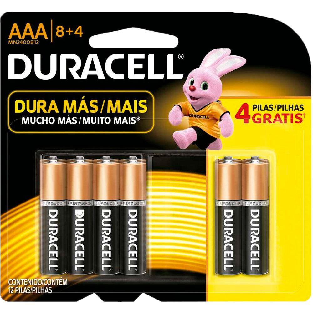 Pilha Duracell Alcalina Palito AAA Leve 12 Pague 8