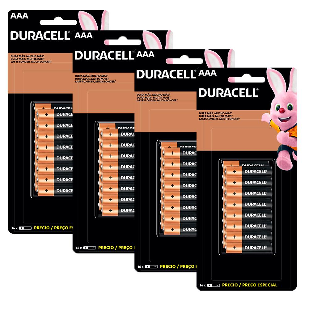 Pilhas Duracell Duralock Alcalina AAA com 64 Unidades