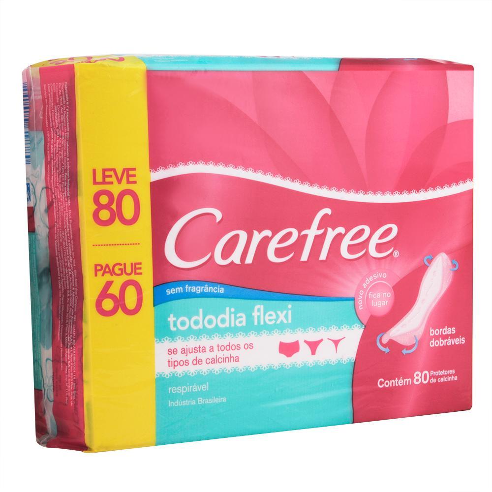 Protetor Diário Carefree Todo Dia Flexi sem Perfume Leve 80 Pague 60