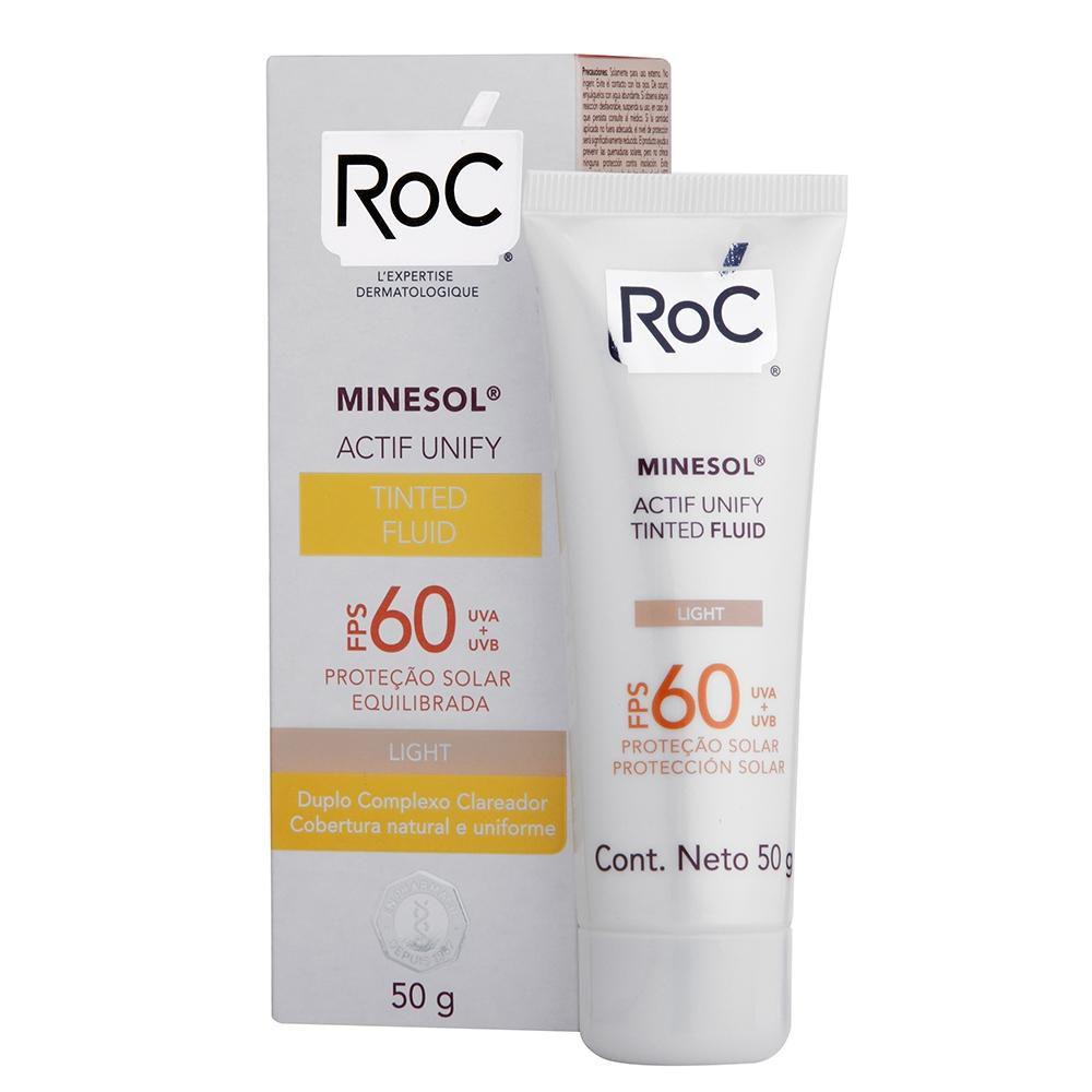 Protetor Solar Roc Minesol Actif Unify Tinted Fluid Light FPS 60 50g
