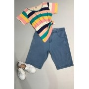 Bermuda Jeans Claro Plus Size Barra Simples
