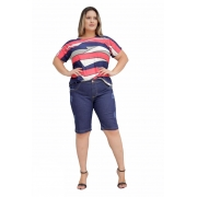 Bermuda Jeans Plus Size Barra Reta