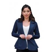Blazer Casaquinho Neoprene Feminino Terninho Azul Marinho