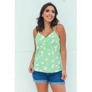 Blusa Alcinha Detalhe Botões Estampada Verde com Corações Branco