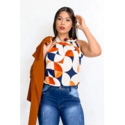 Blusa Camisa Regata Feminina Laço Pescoço Gola Alta Social Creme