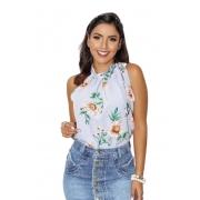 Blusa Camisa Regata Feminina Laço Pescoço Gola Alta Social Floral