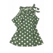 Blusa Camisa Regata Feminina Laço Pescoço Gola Alta Social Verde Musgo Poá