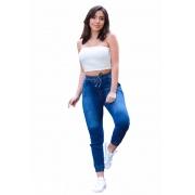 Calça Feminina Jeans Jogger Lisa Com Elástico Na Cintura E Barra