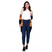 Calça Feminina Jogger Lisa Jeans Cintura Alta Blogueira