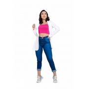 Calça Jeans Básica Cintura Média Feminina Levanta Bumbum