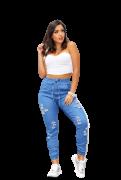 Calça Jeans Feminina Jogger Destroyed Cintura Alta Blogueira